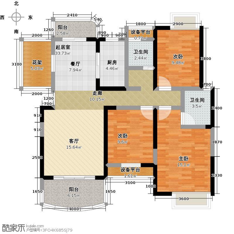红谷峰尚124.00㎡D1户型3室2厅2卫