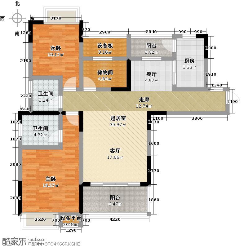 融创红谷世界城108.85㎡A1户型2室2厅2卫