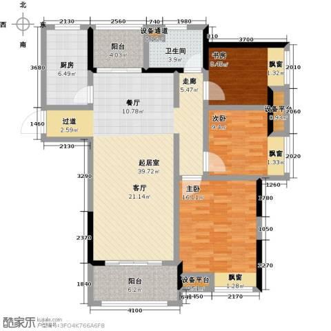 中央香榭3室0厅1卫1厨111.00㎡户型图