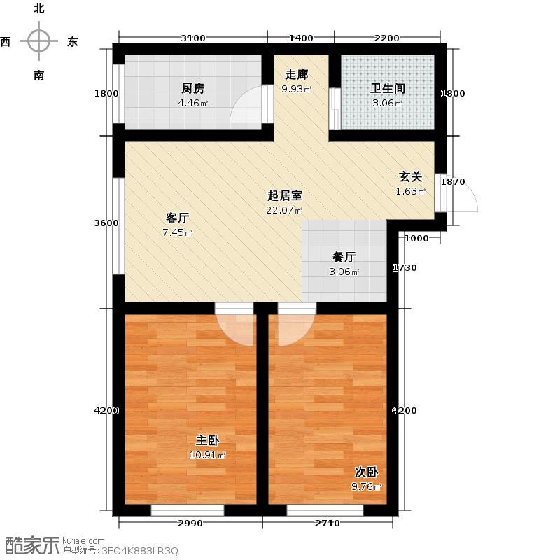 隆泰碧水山城79.00㎡隆泰・碧水山城A1户型两室一厅一卫约79-87平米户型图户型2室1厅1卫