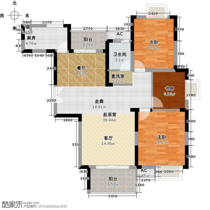 香缇溪岸108.48㎡14#C1户型3室2厅1卫