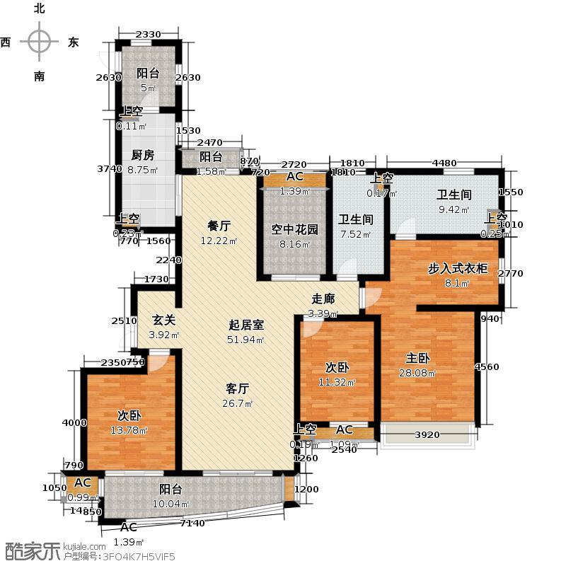 建屋海德公园184.00㎡二期18标准层01室E1户型QQ
