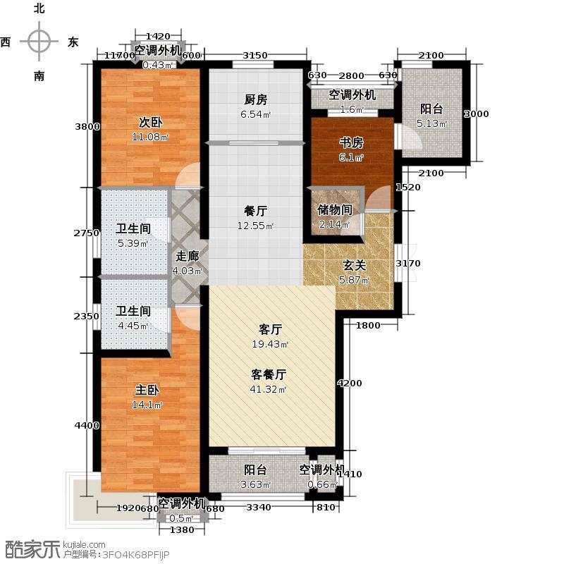 国韵村139.00㎡国韵村户型图B1户型三室二厅二卫(1/2张)户型3室2厅2卫