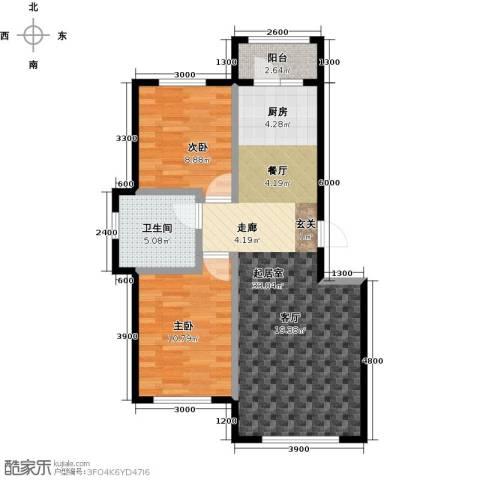 海湾新城2室0厅1卫0厨85.00㎡户型图
