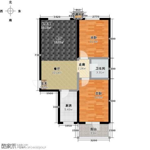 御�华府2室0厅1卫1厨92.00㎡户型图