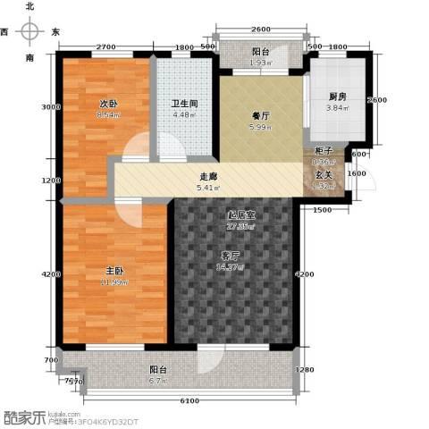 海湾新城2室0厅1卫1厨93.00㎡户型图