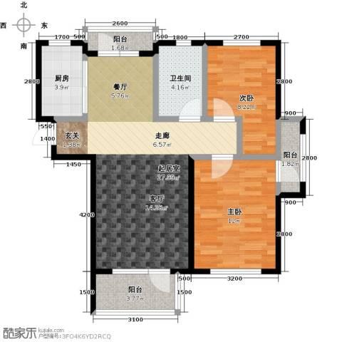 海湾新城2室0厅1卫1厨92.00㎡户型图