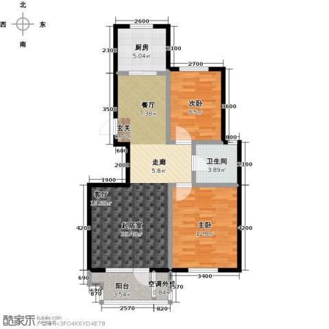 海湾新城2室0厅1卫1厨91.00㎡户型图