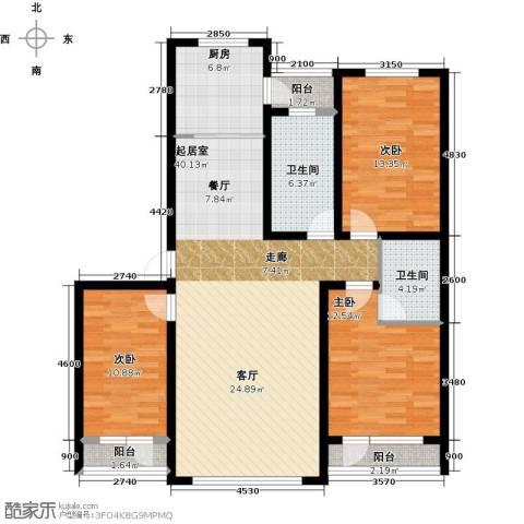 万升前城国际3室0厅2卫1厨123.00㎡户型图