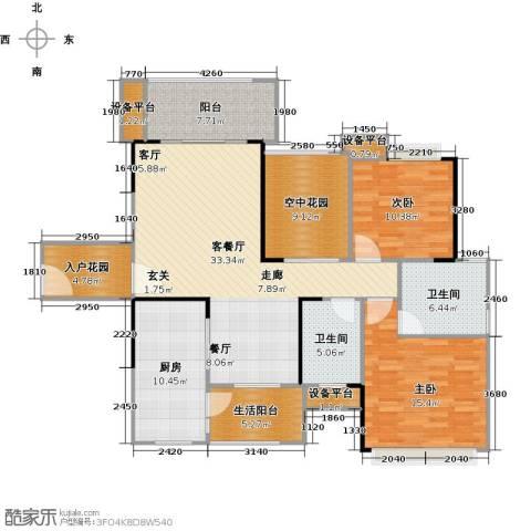 金地亚2室1厅2卫1厨112.00㎡户型图