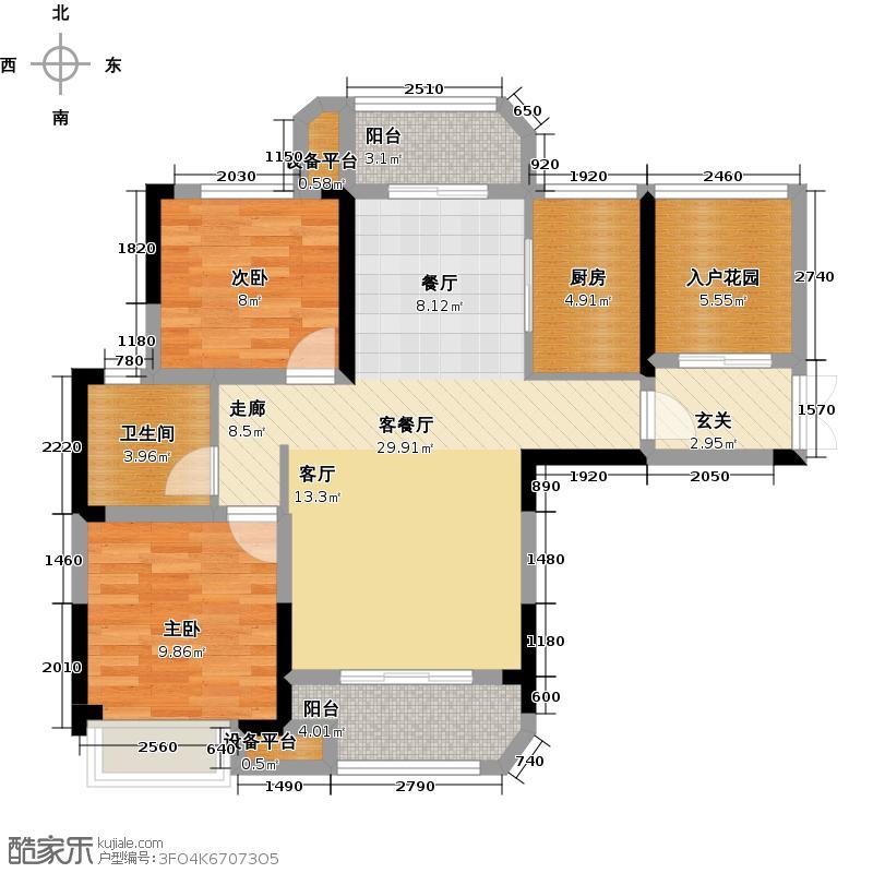 五矿万境水岸104.31㎡6号栋5号户型2室2厅1卫