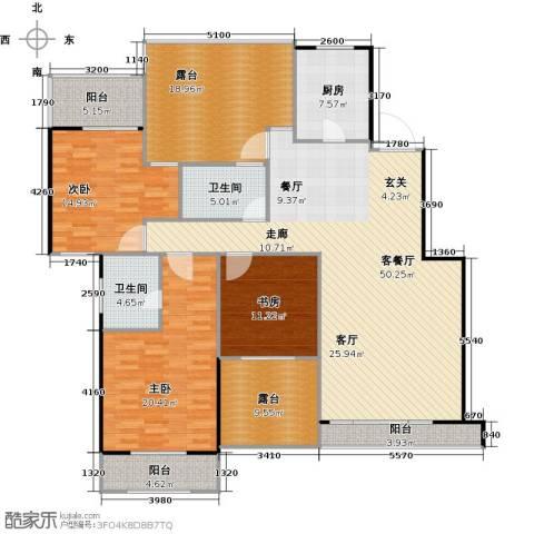 熙庭原著3室1厅2卫1厨156.24㎡户型图