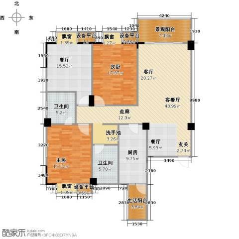 一品金子湾2室2厅2卫1厨128.95㎡户型图