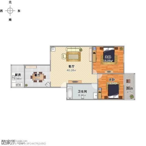 百花小区2室1厅1卫1厨114.00㎡户型图