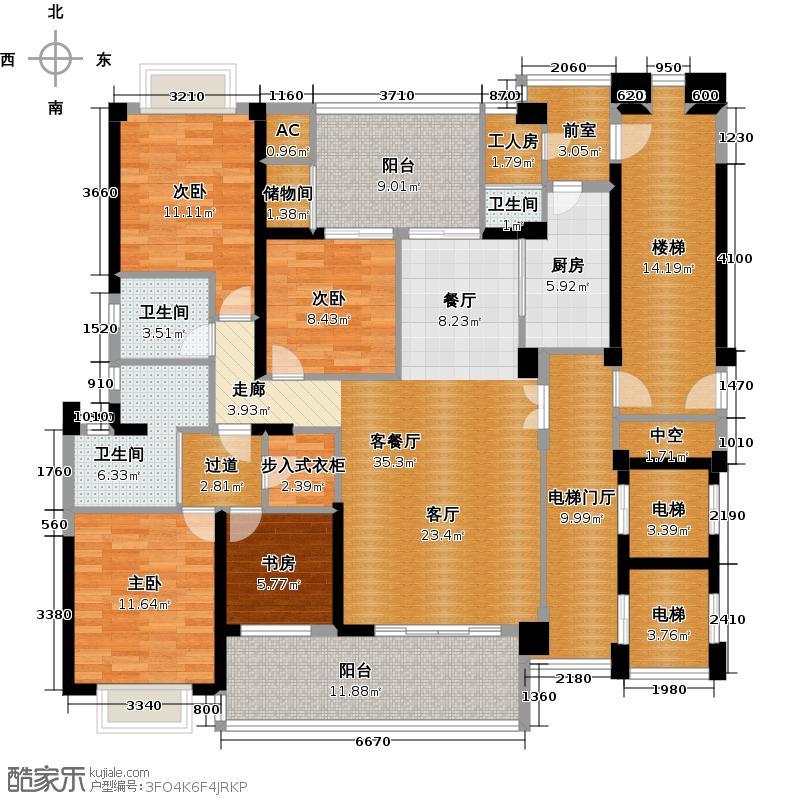 万泽云顶香蜜湖4、5栋平面示意图户型4室1厅3卫1厨