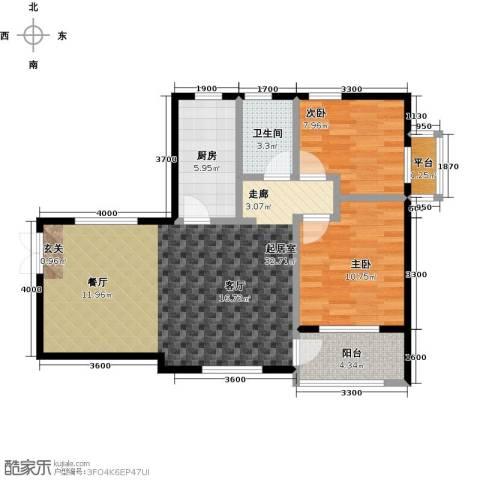 众益万国宫馆2室0厅1卫1厨90.00㎡户型图
