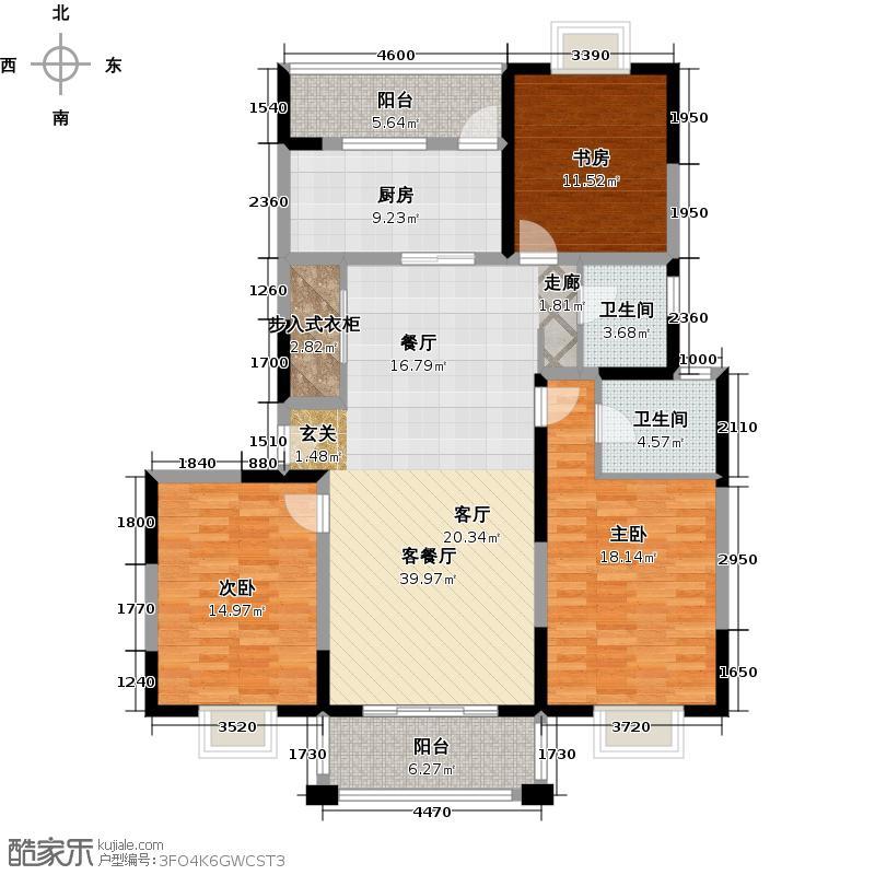 锦华茗园户型3室1厅2卫1厨