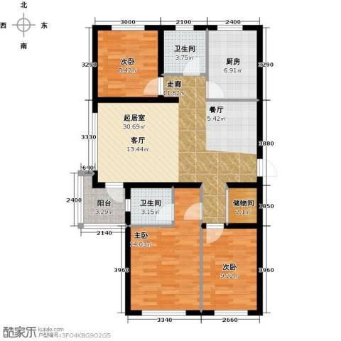 万升前城国际3室0厅2卫1厨102.00㎡户型图