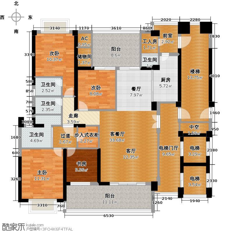 万泽云顶香蜜湖4-5栋B1型户型4室1厅4卫1厨