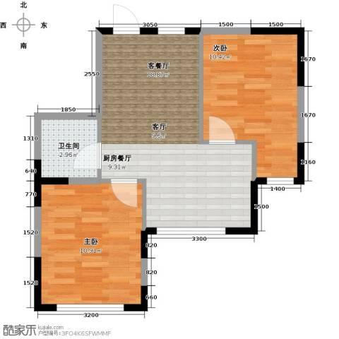 中凯梦之城2室1厅1卫0厨60.00㎡户型图