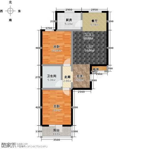 御�华府2室0厅1卫1厨91.00㎡户型图