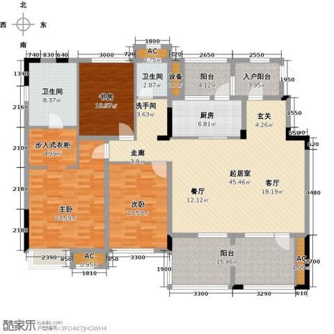 中铁万科香湖盛景3室0厅2卫1厨155.00㎡户型图
