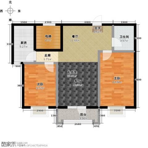 御�华府2室0厅1卫1厨83.00㎡户型图