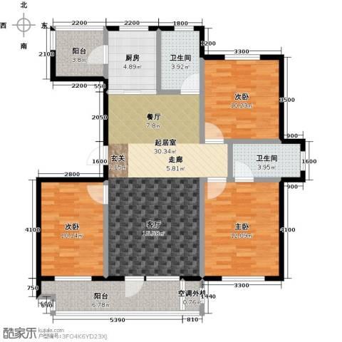 海湾新城3室0厅2卫1厨124.00㎡户型图