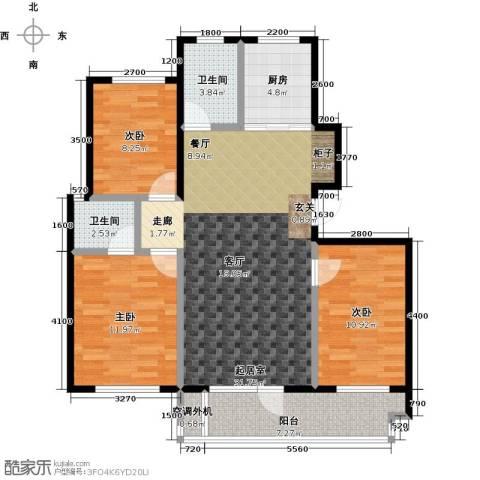 海湾新城3室0厅2卫1厨116.00㎡户型图