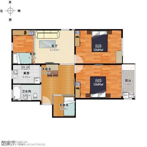 华梅花苑3室1厅1卫1厨98.00㎡户型图