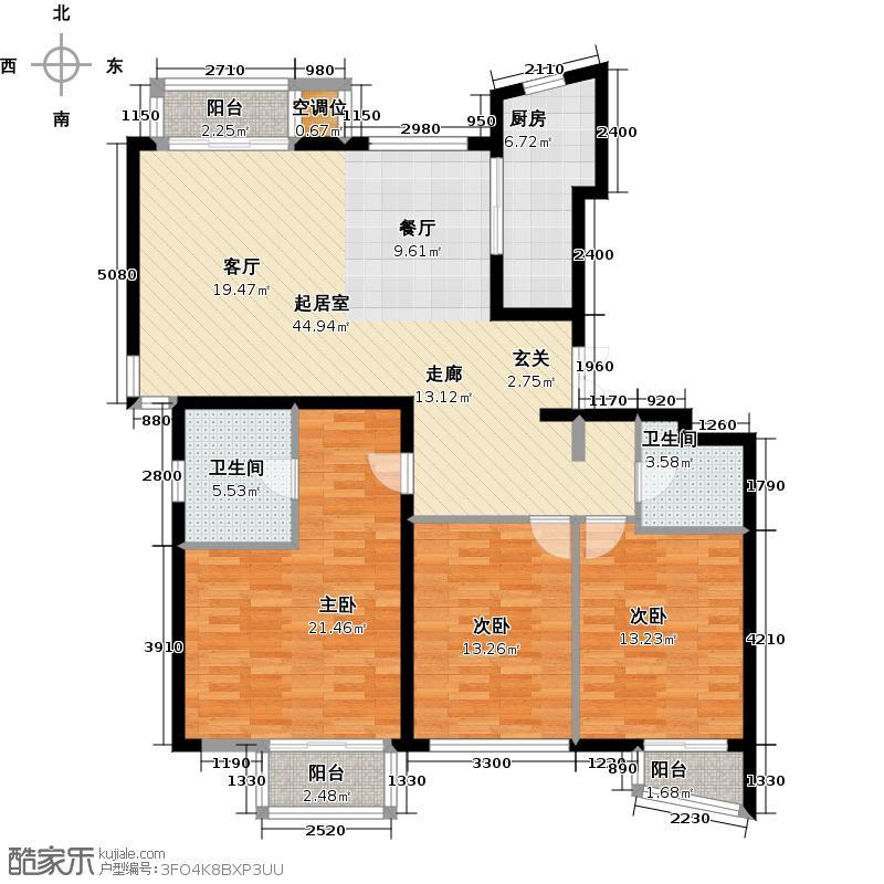 万象新天156.00㎡D1三室两厅两卫户型