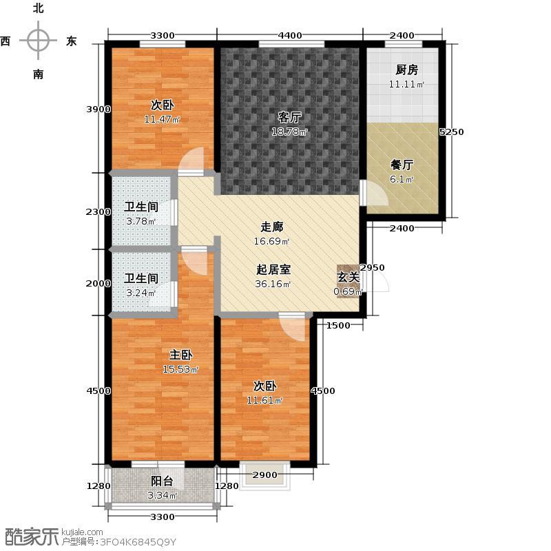 御�华府126.64㎡雅艺轩 C户型三房两厅两卫户型3室2厅2卫