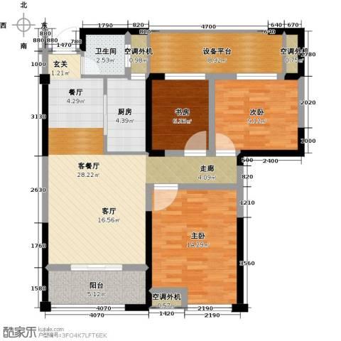 太平洋森活广场3室1厅1卫1厨97.00㎡户型图