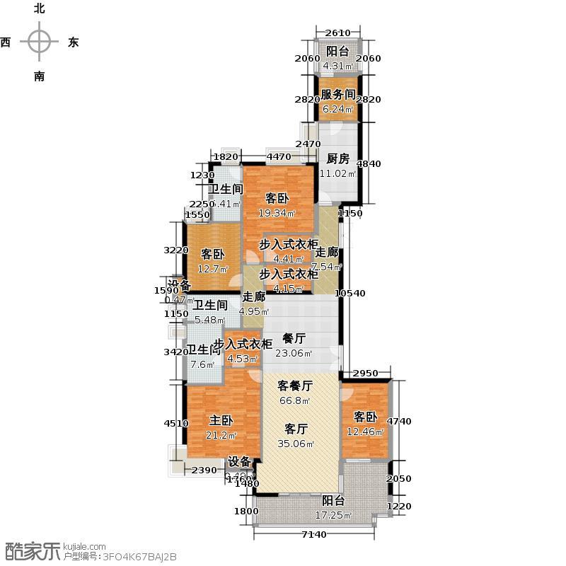 富力公园28A1栋44-48层02单元户型4室1厅3卫1厨