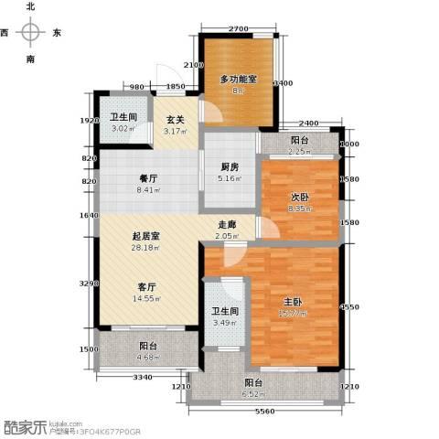 保利东湾国际2室0厅2卫1厨88.00㎡户型图