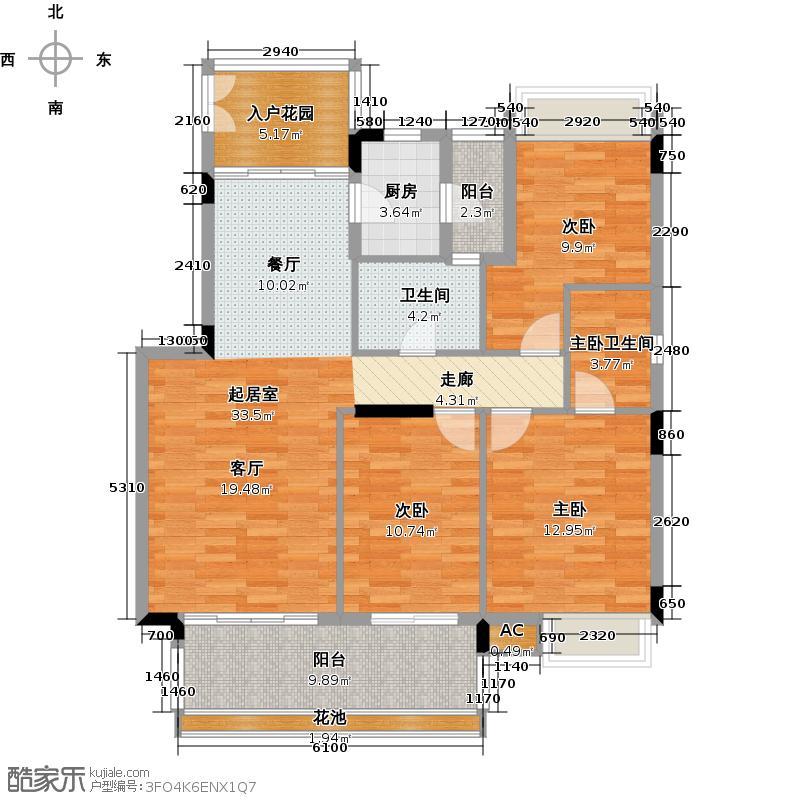 路劲隽悦豪庭A区4-7栋01单位户型3室1卫1厨