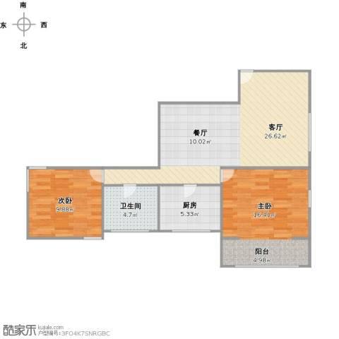 胶州教师公寓2室1厅1卫1厨84.00㎡户型图