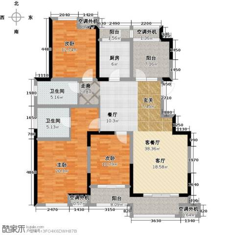 嘉宝梦之湾3室1厅2卫1厨138.00㎡户型图