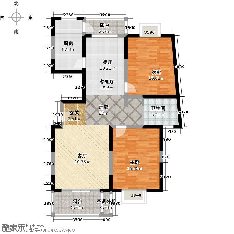 锦华茗园户型2室1厅1卫1厨