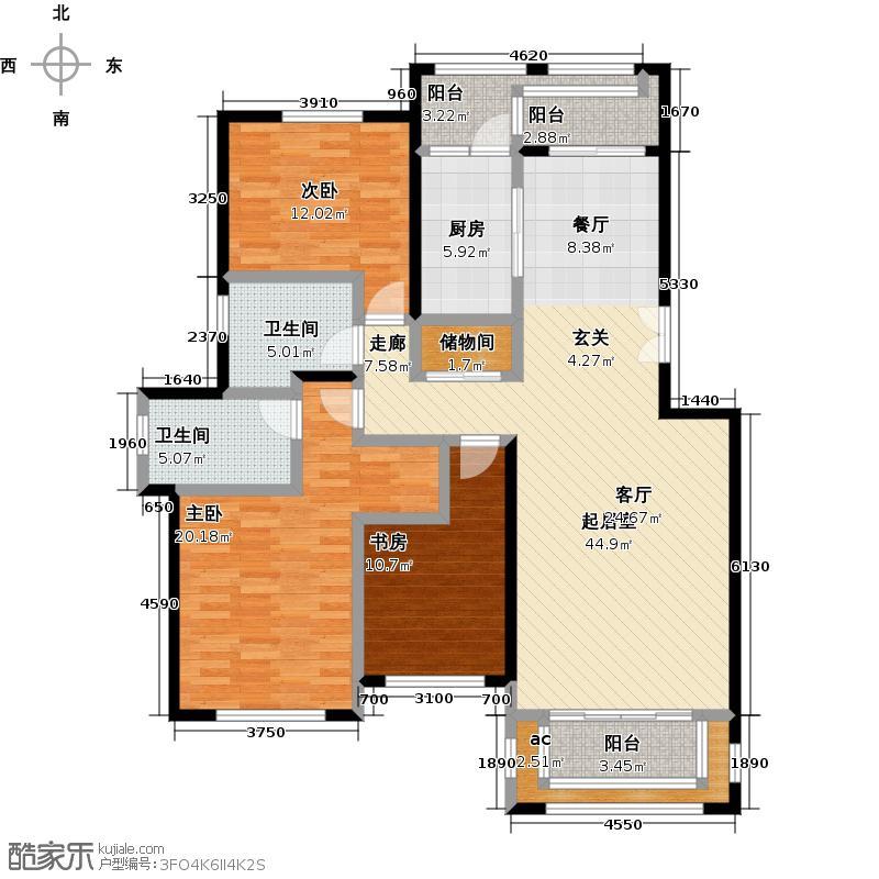 茂华爱琴海140.00㎡D户型 三室两厅两卫户型3室2厅2卫