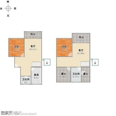 明日新苑2室2厅2卫1厨144.00㎡户型图