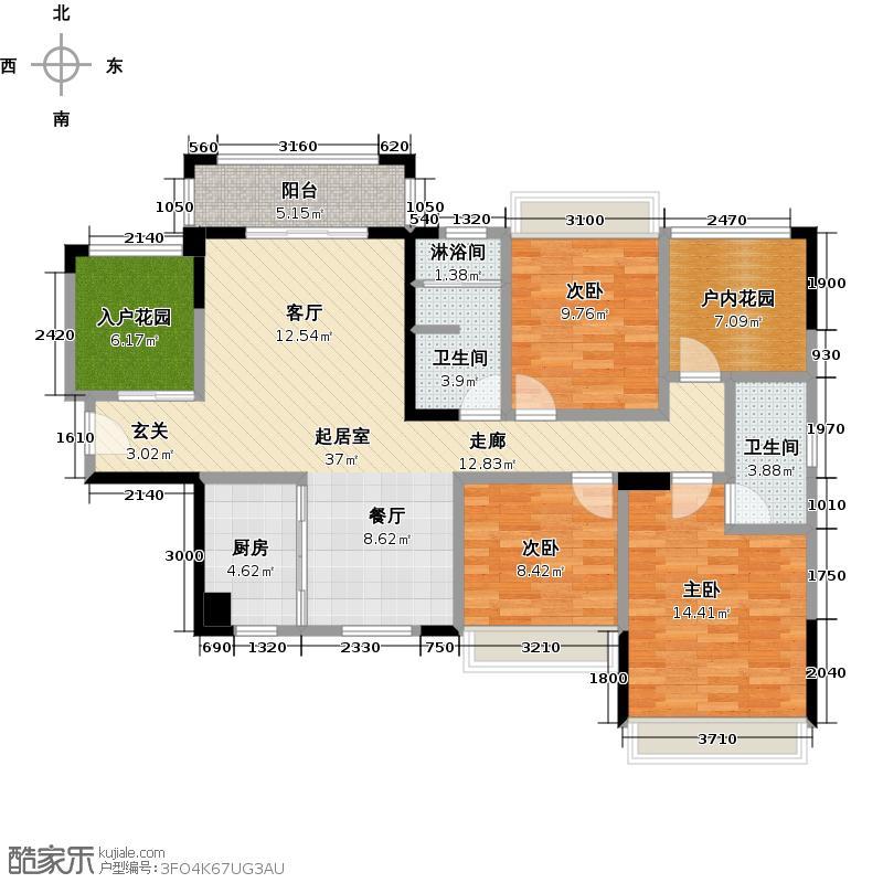 万昌邕江明珠11-13号楼3+2房128平米户型
