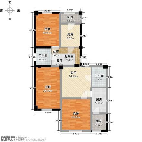 金港馨都3室1厅2卫1厨135.00㎡户型图