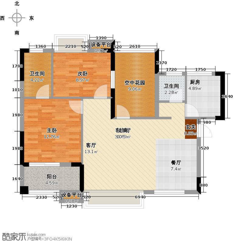 湘府十城100.00㎡C2-2房2厅2卫户型2室2厅2卫