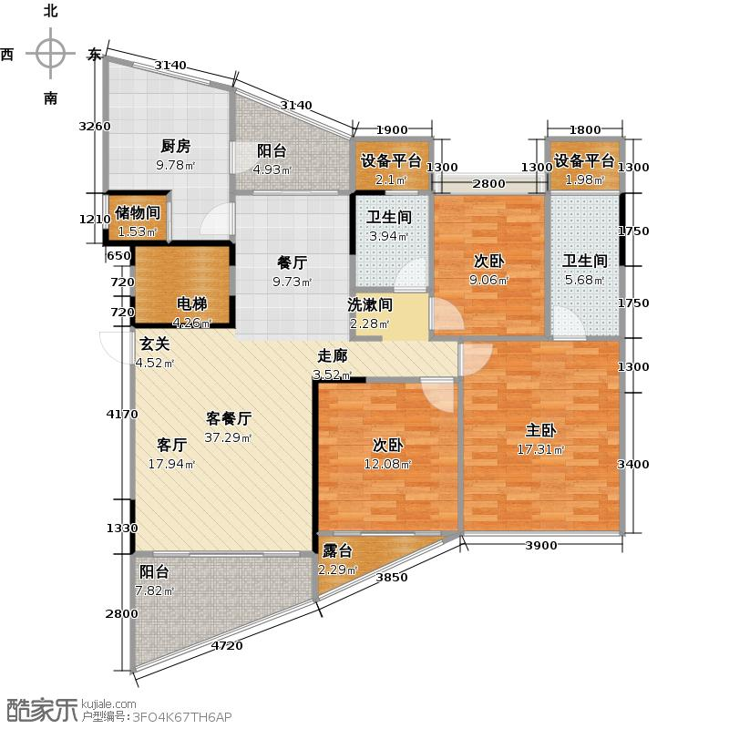 云星天御136.00㎡10#11#楼02户型4室2厅2卫