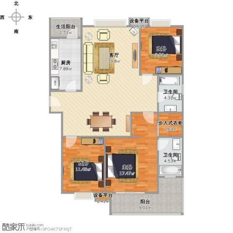 朗诗国际街区(跃层)3室1厅2卫1厨149.00㎡户型图