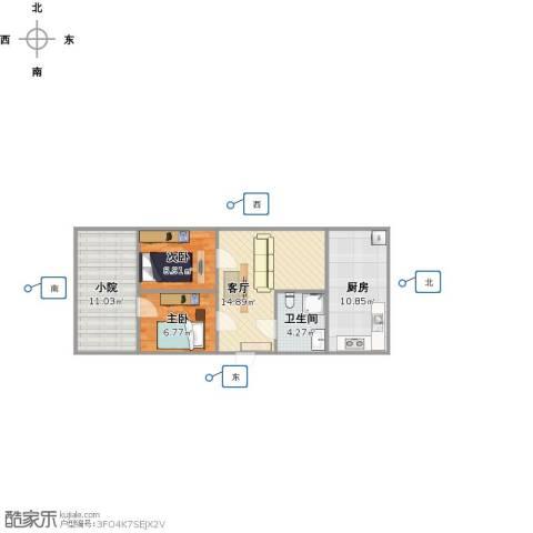 化纤小区2室1厅1卫1厨74.00㎡户型图