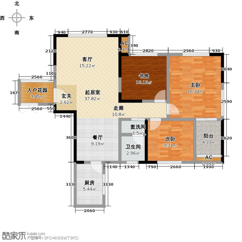 第一湾115.89㎡3-02户型 三室二厅一卫一阳台户型3室2厅1卫