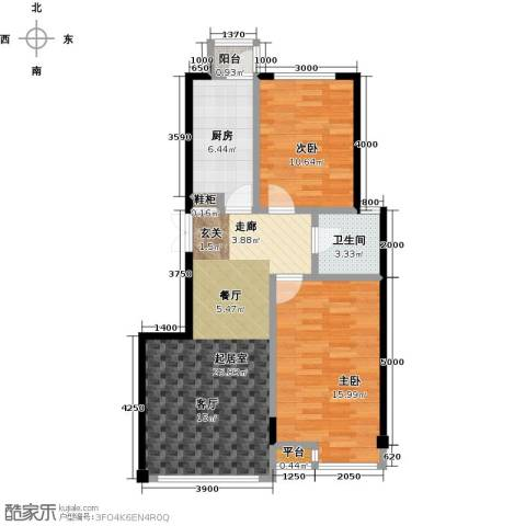 枫丹丽舍2室0厅1卫1厨87.00㎡户型图