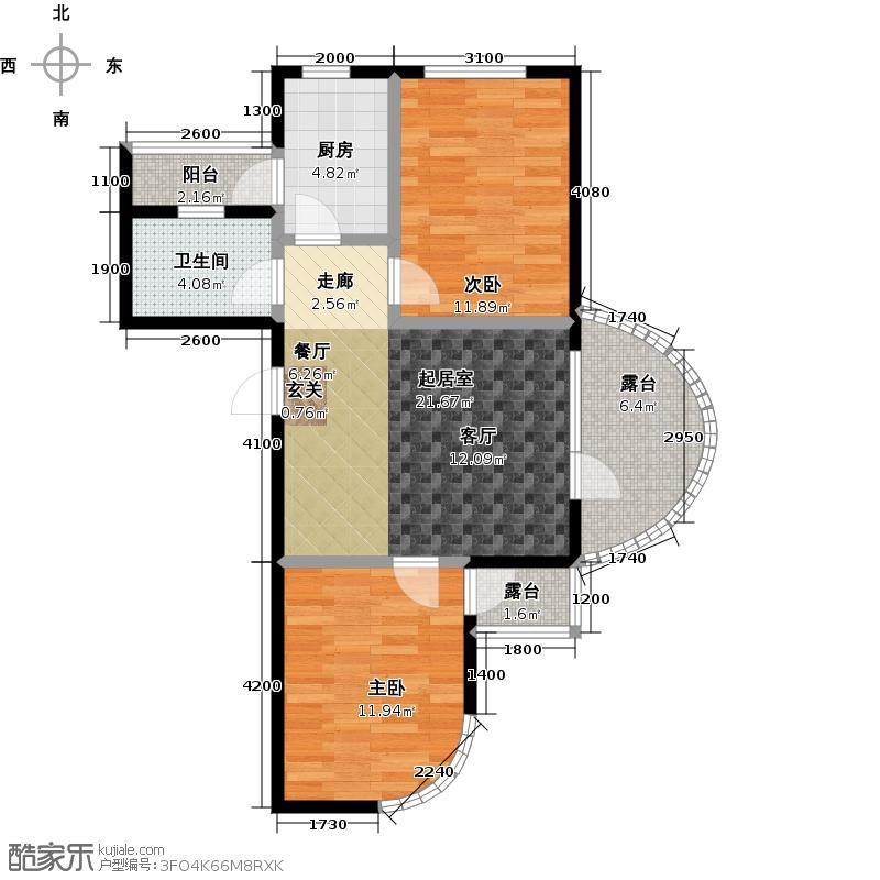 热岛黄金海岸F户型 二室一厅 89.49~90.51㎡户型